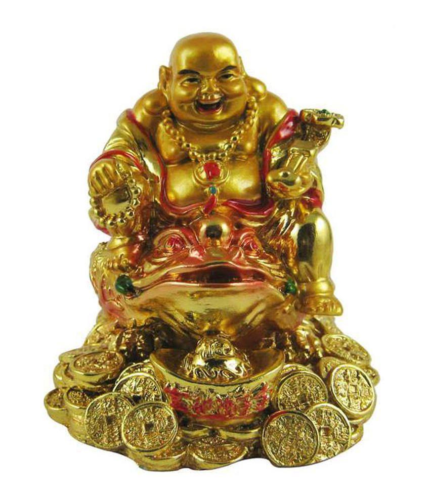 Odishabazaar Golden Laughing Buddha On Feng Shui Money Frog