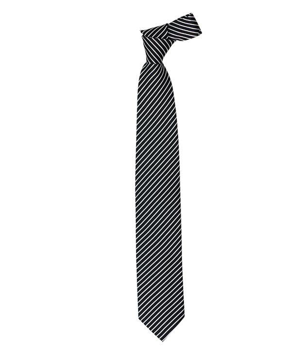 Vermello Black Stripes Micro Fiber Men Broad Ties