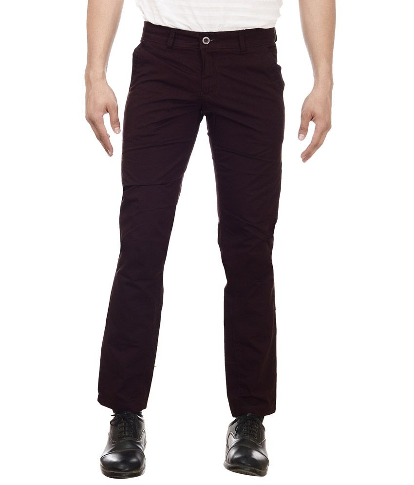 William Hazlitt Maroon Cotton Lycra Slim Trousers
