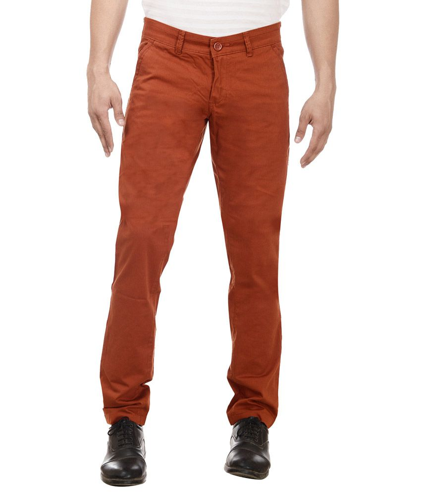 William Hazlitt Red Cotton Lycra Slim Trousers