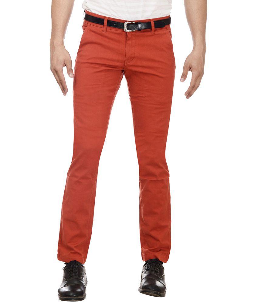 William Hazlitt Red Cotton Lycra Slim Trousers