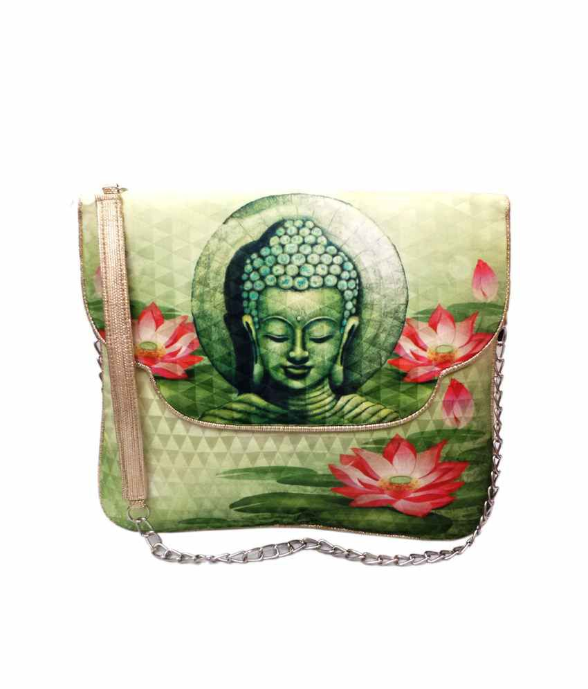 Bhamini Digital Ethnic Satchel Bag - Green Variation