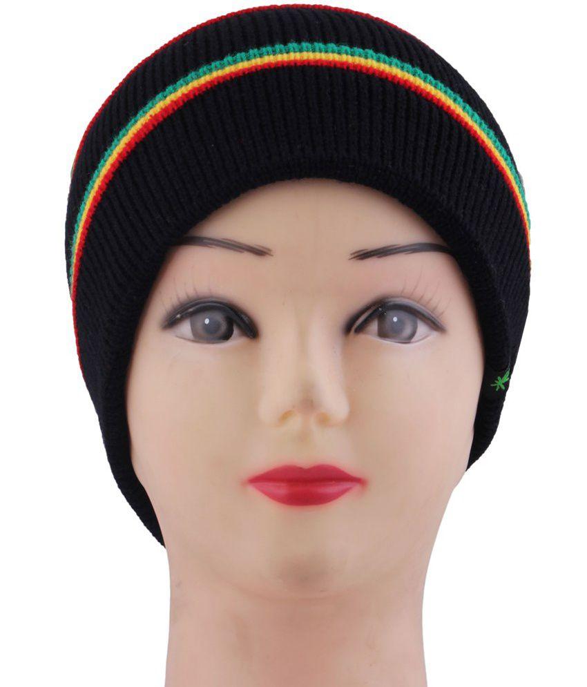 Innovationthestore Black Winter Woolen Skull Cap
