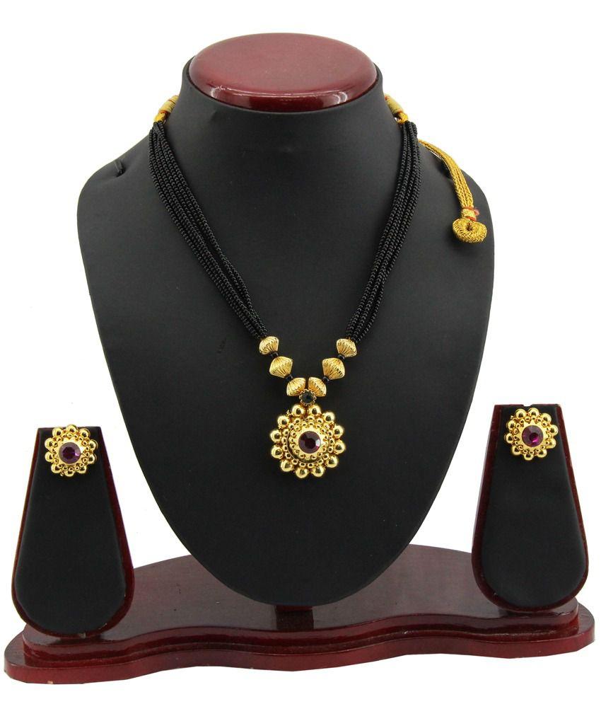 Jstarmart Kolhapuri Designer Golden And Black Mangalsutra With Earring