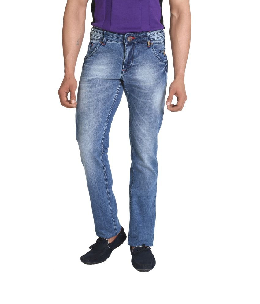 Sl Play Blue Cotton Faded Men's Jeans