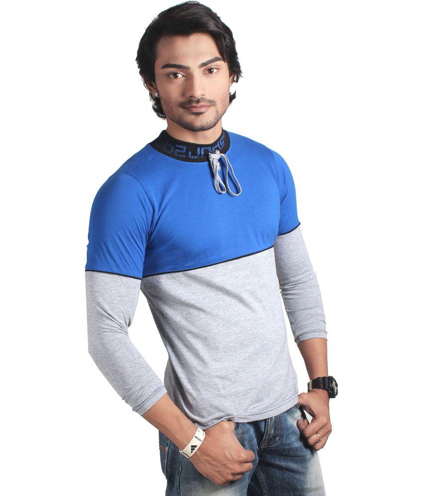 Spur Blue Cotton Full Sleeve Tshirt