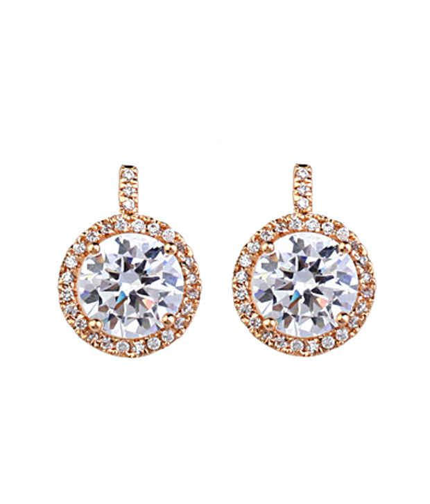 Ar Swarovski Elements 18k Gold Plated Glamourous Style Diva Stud Earrings