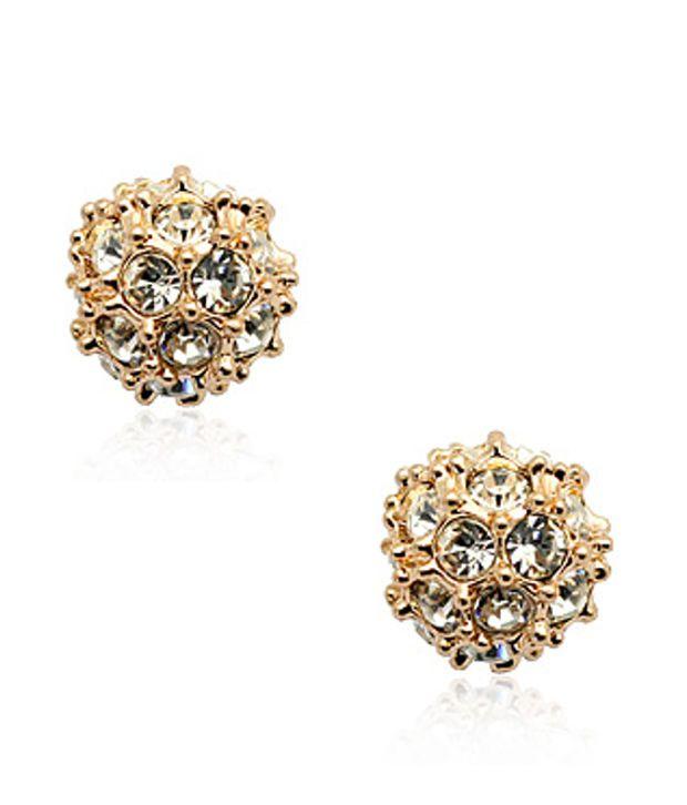 Ar Swarovski Elements 18k Gold Plated Style Diva Stud Earrings
