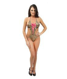 Lady Heart Hot Brown Printed Pvc Leather Babydoll Lingerie Teddies