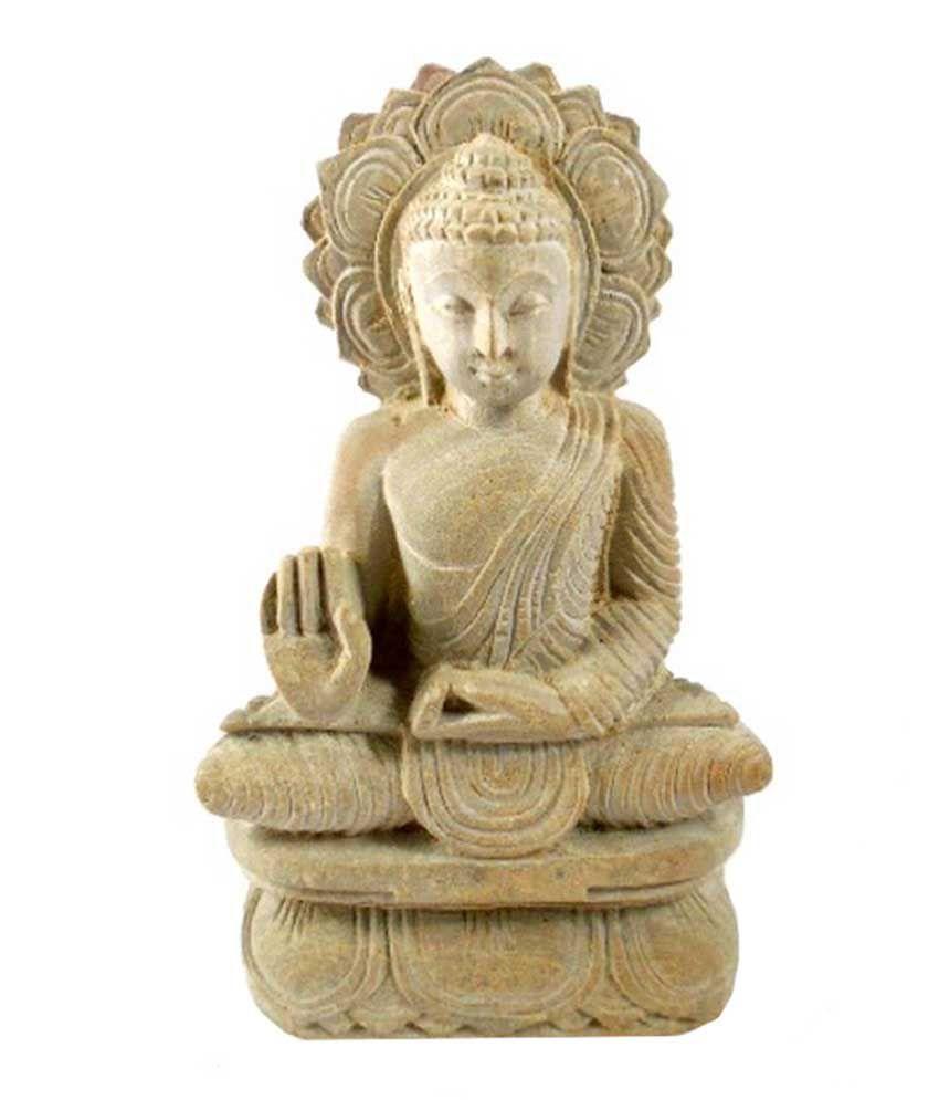 Heritagemax Pink Marble Idol Of Lord Buddha Dhayan Mudra