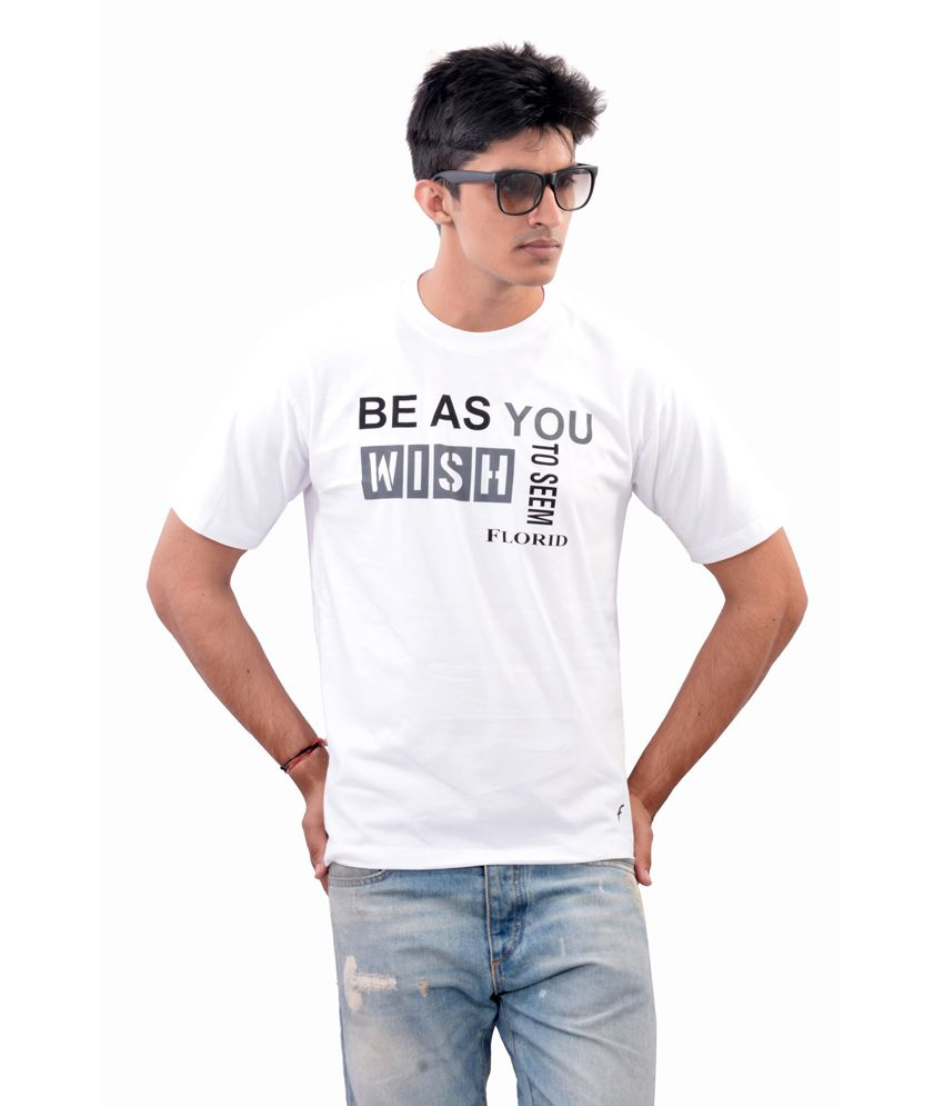 JKK Men Cotton Printed White T-shirt