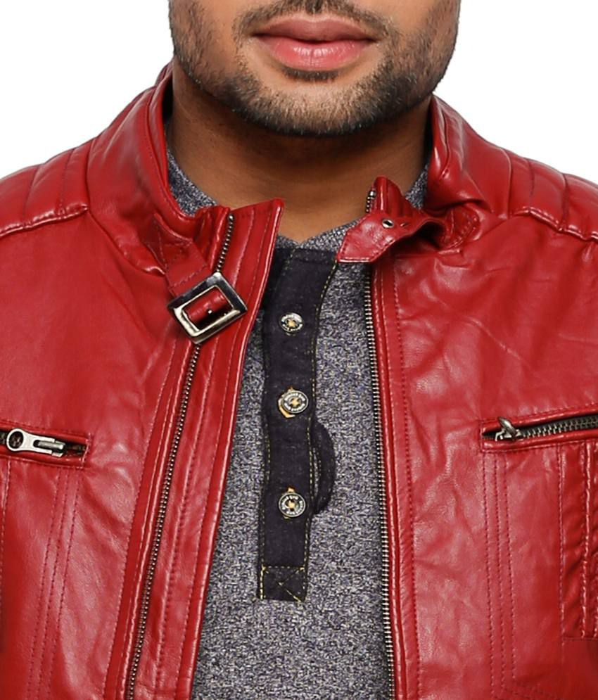 Status Quo Red Pu Leather Full Sleeves Men Leather Jacket - Buy ...