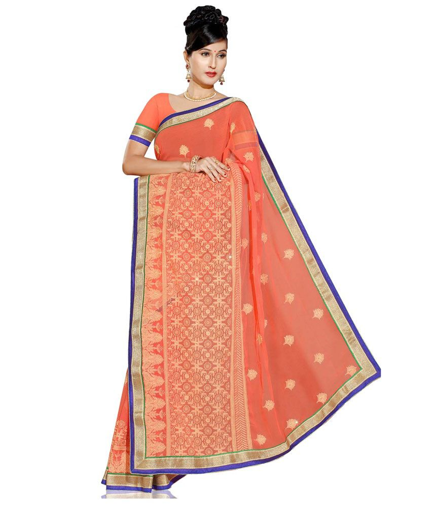 Paaneri Orange Embroidered Pure Chiffon Saree With Blouse Piece