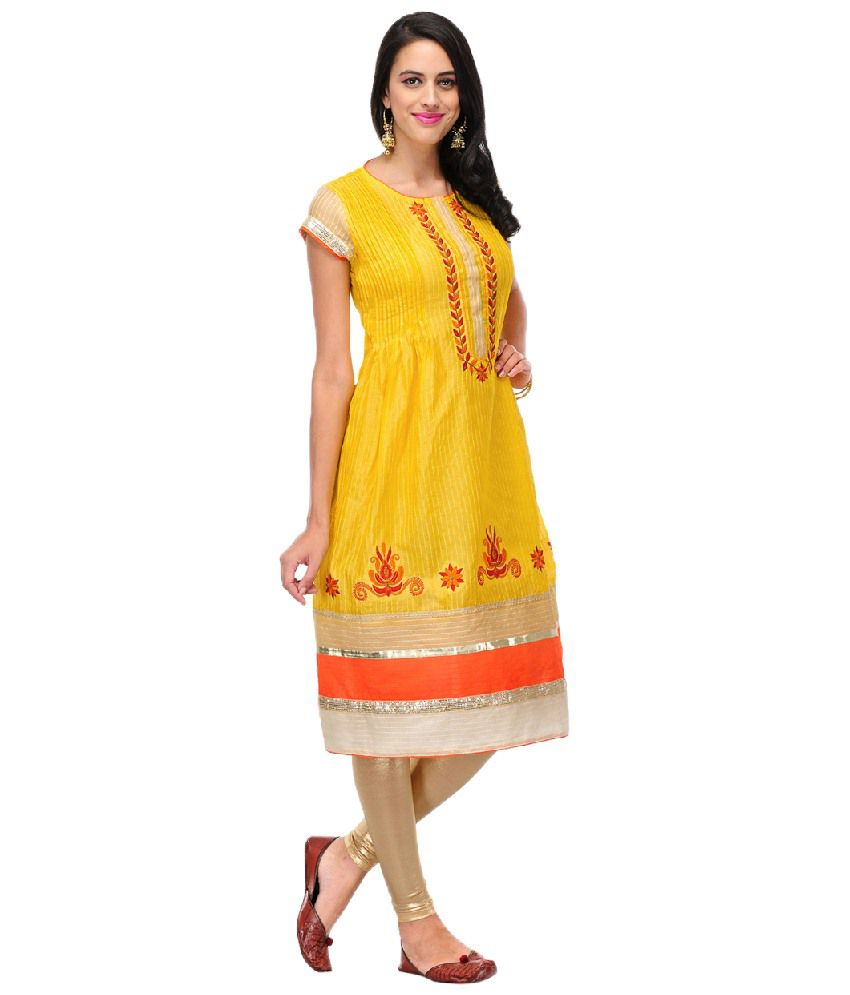 Yepme Stylish Yellow & Orange Embroidered Kurti
