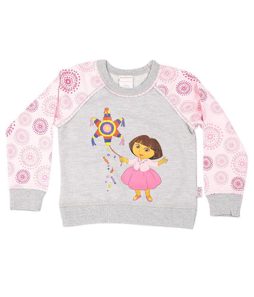 Dora Grey Melange Rose Pink Graphic Cotton Sweatshirt
