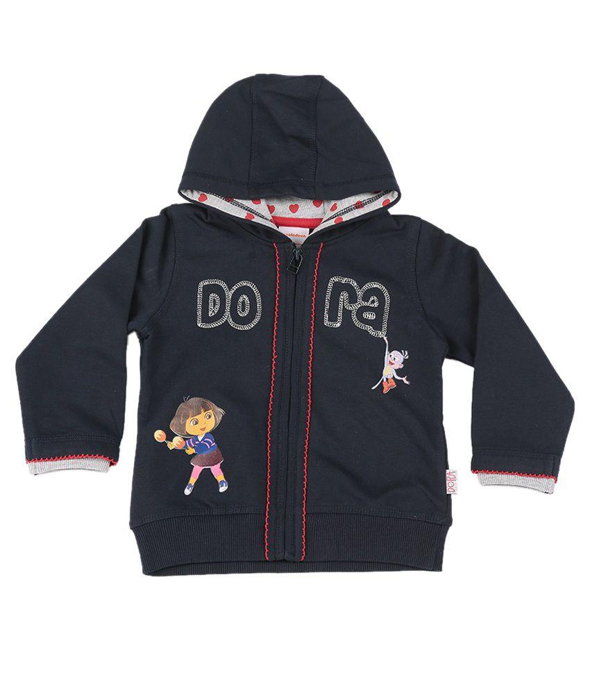 Dora Navy Graphic Cotton Sweatshirt
