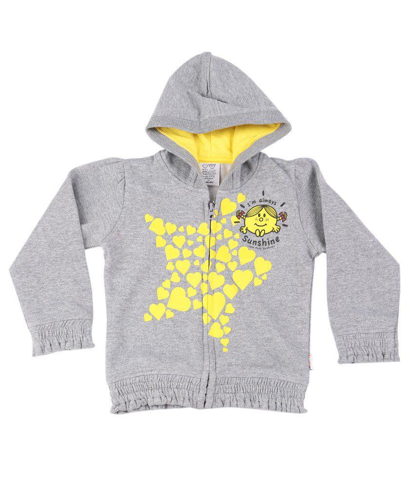 Mr.Men Little Miss Lt Grey Melange Graphic Cotton Sweatshirt