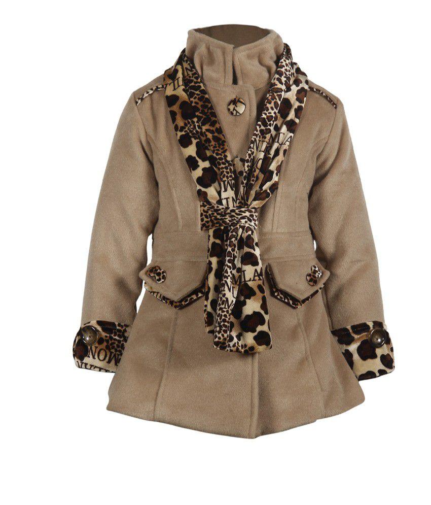 Cutecumber Beige Mesh Full Sleeve Coat For Girls