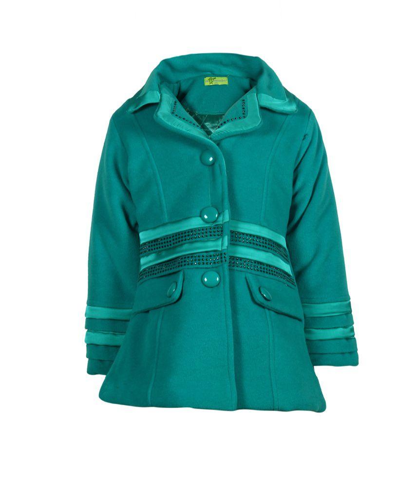 Cutecumber Green Mesh Full Sleeve Coat For Girls