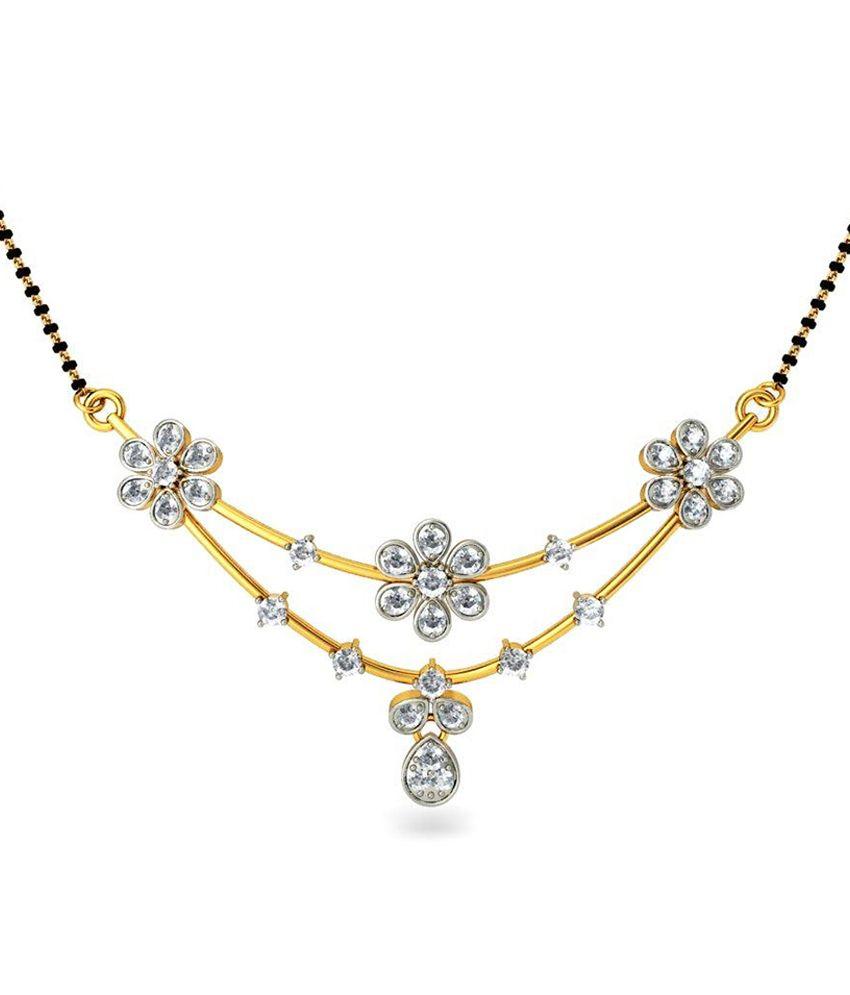 Jacknjewel 18kt Gold Certified Floral Shape Diamond Mangalsutra