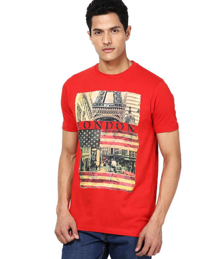 Cloak & Decker by Monte Carlo Red Cotton Blend T-shirt