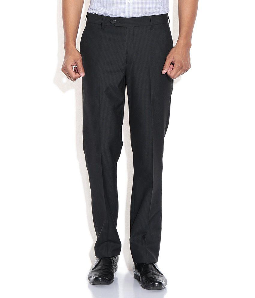 Wills Lifestyle Black Slim Formal Trousers & Chinos