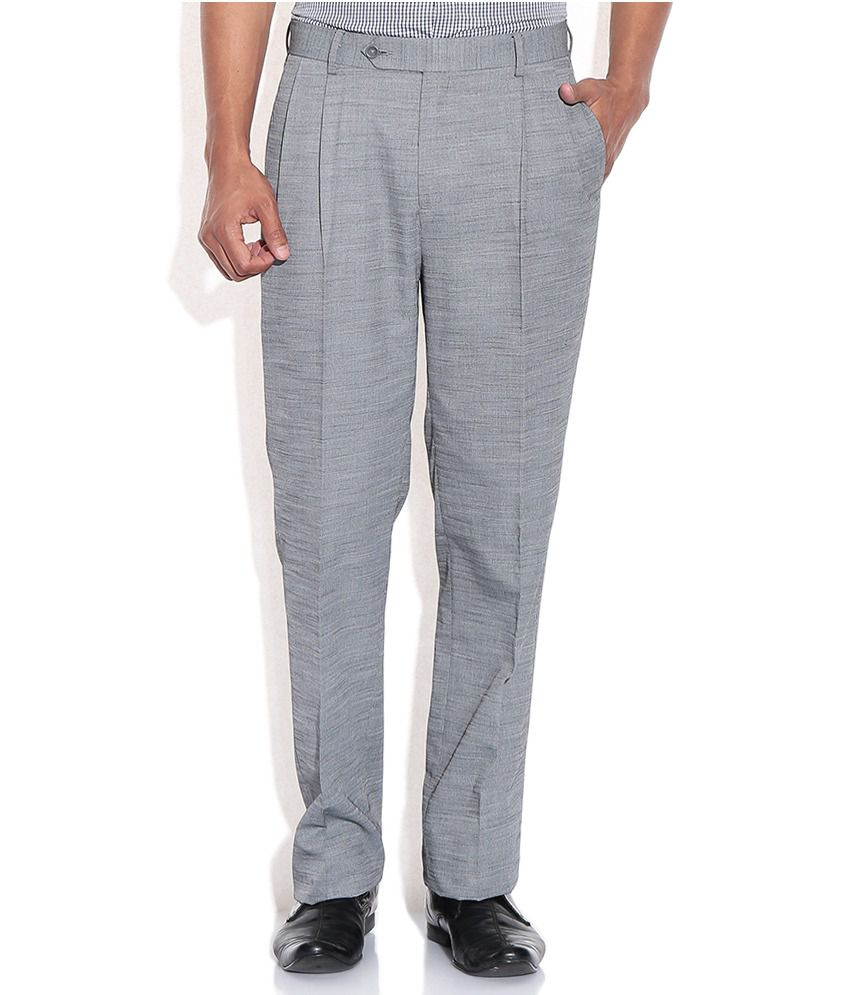 Wills Lifestyle Gray Regular Formal Trousers & Chinos