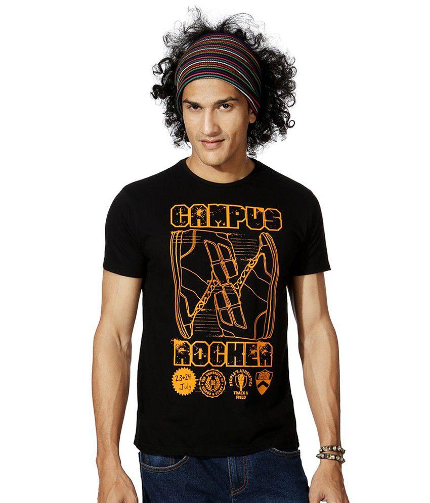 People Black Cotton Blend T-shirt