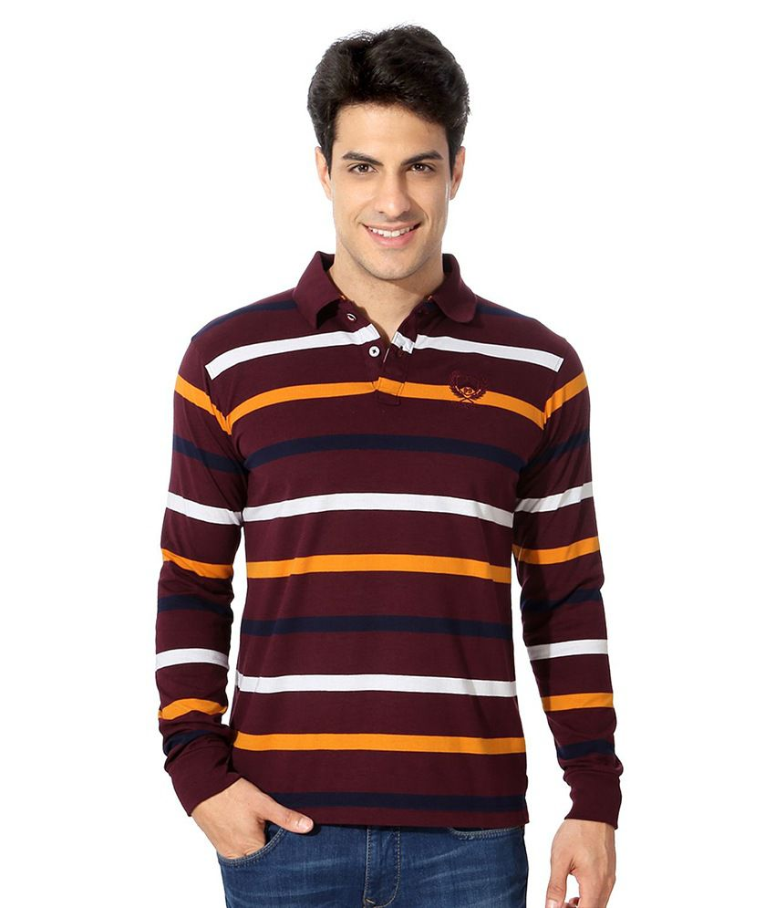 Peter England Maroon Cotton Blend T-shirt