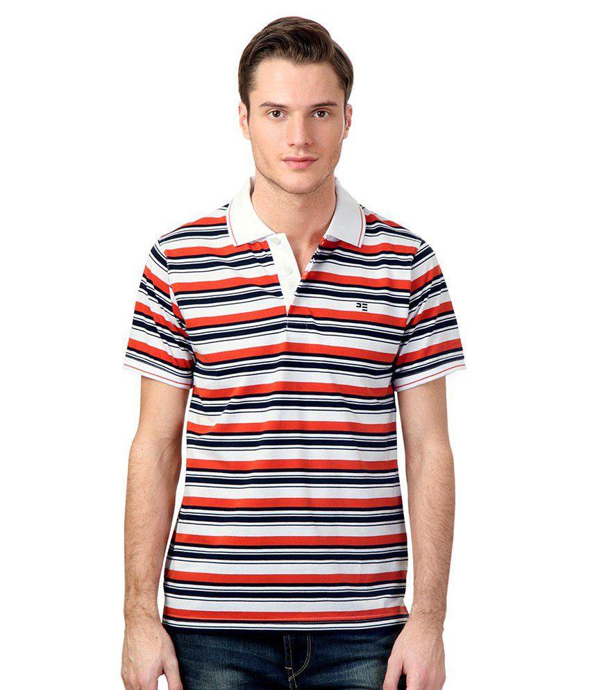 Peter England Orange Cotton Blend T-shirt