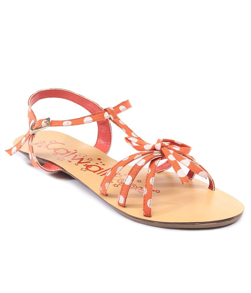 Catwalk Orange Flat Sandals