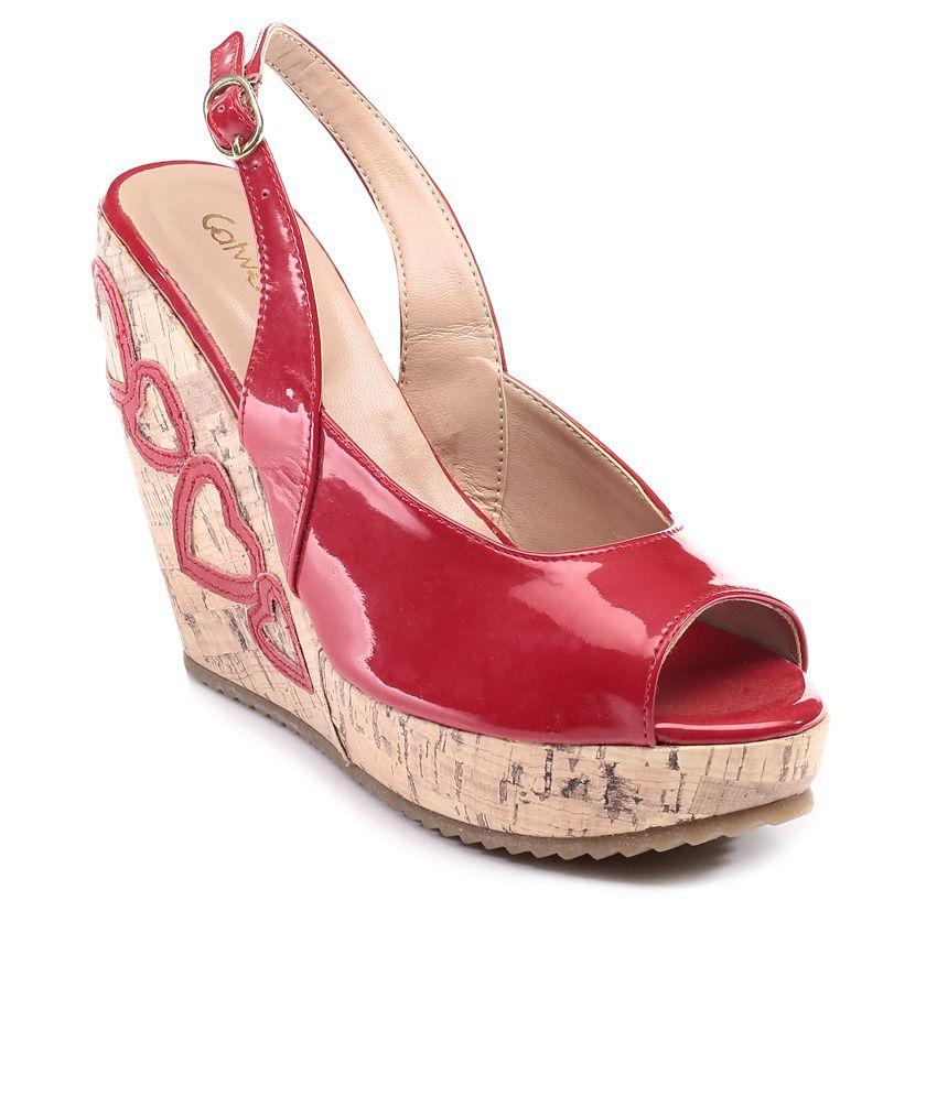 Catwalk Red Wedges Sandals