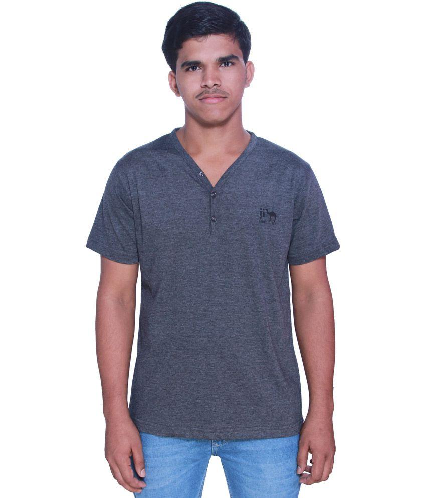 Just I Gray Cotton Half Sleeves V-neck T-shirt