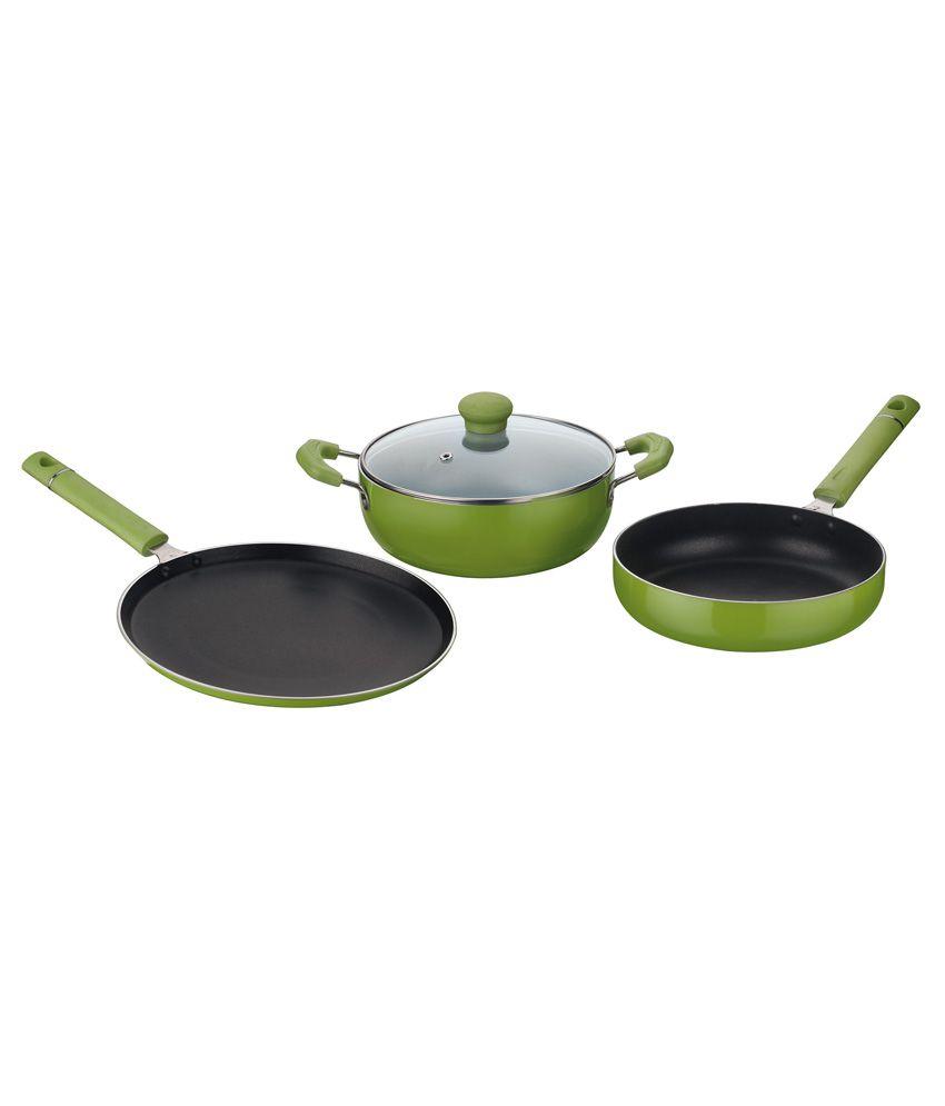 Non Stick Kitchen Set With Price: Kitchen Essentials Induction Friendly Non Stick Green