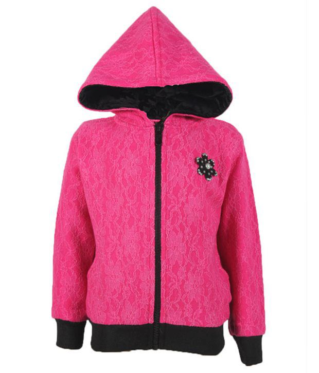 Purple Nasty By Ritu Wears Pretty Pink Hooded Sweatshirt For Girls