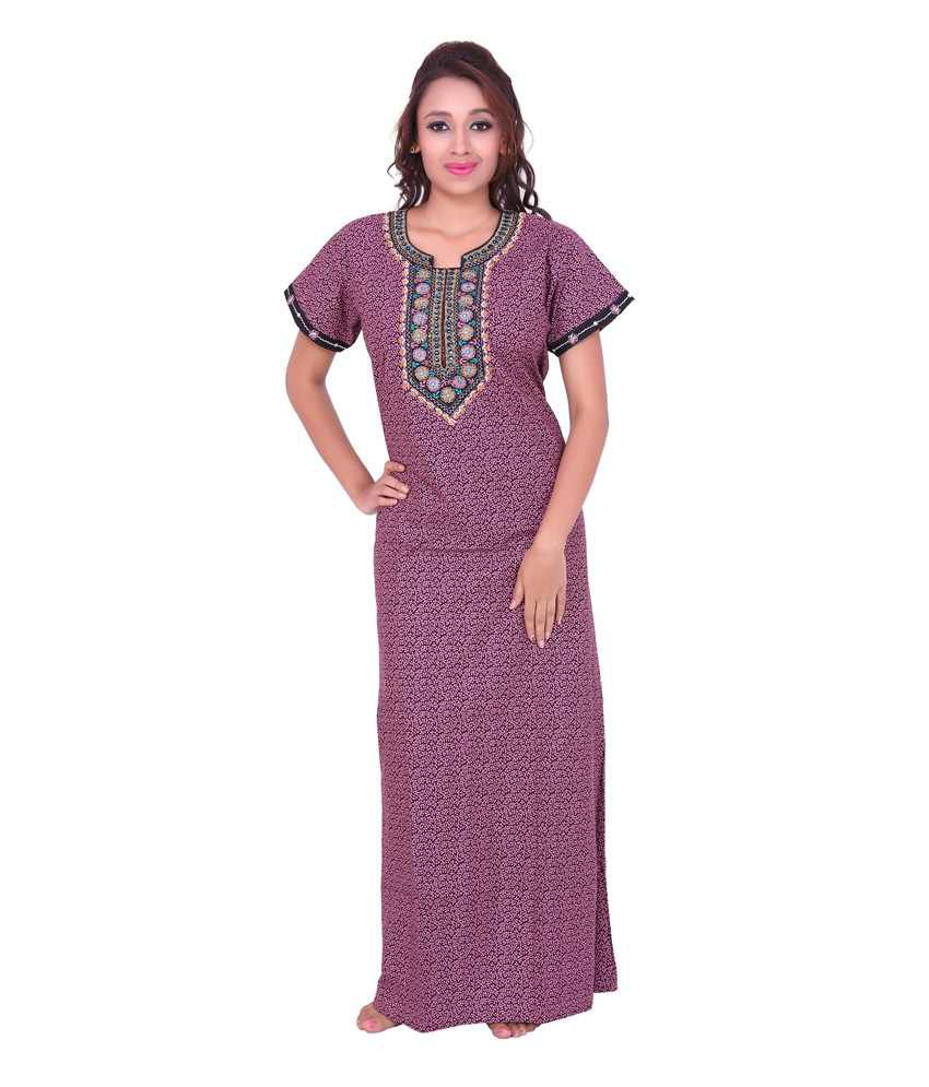 642a17c048b Buy Sleeping Story Pink Cotton Nighty Online at Best Prices in India -  Snapdeal