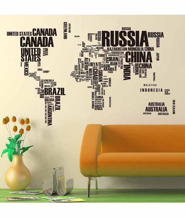 wow interiors and decors world map vinyl wall sticker - buy wow