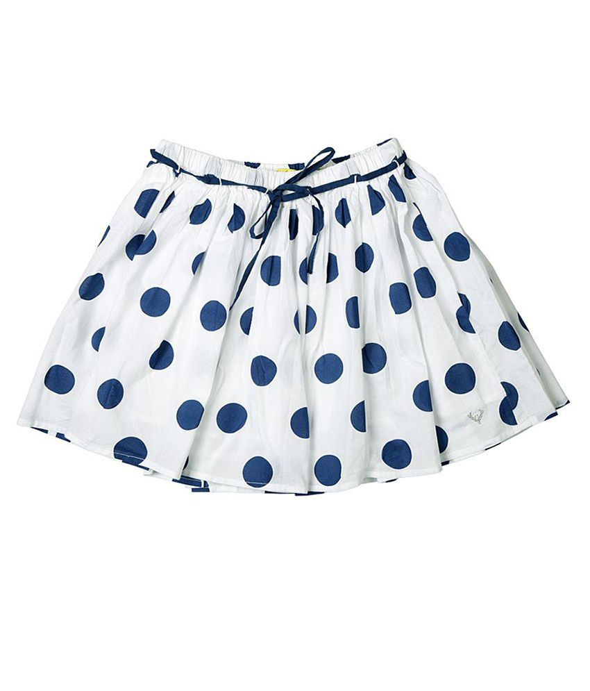 Allen Solly Navy Polka Drindle Skirt
