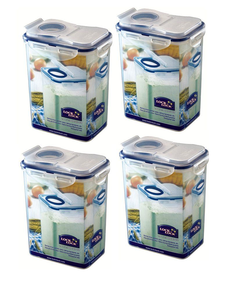 Lock & Lock Space Saver Flip Top Container (set Of 4)