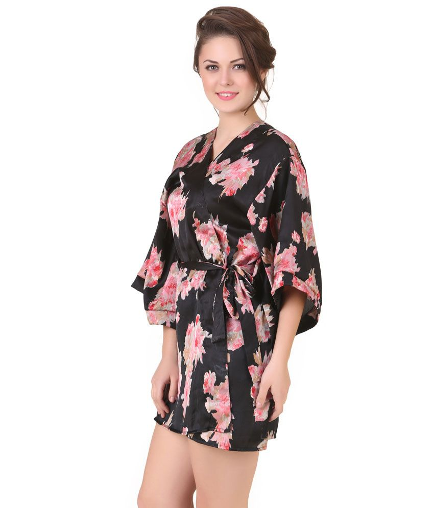 Buy Masha Black Satin Robe Online at Best Prices in India - Snapdeal 1b7534e6b