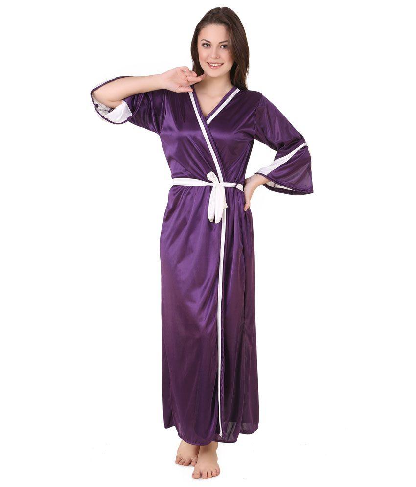 Masha Purple Satin Robe