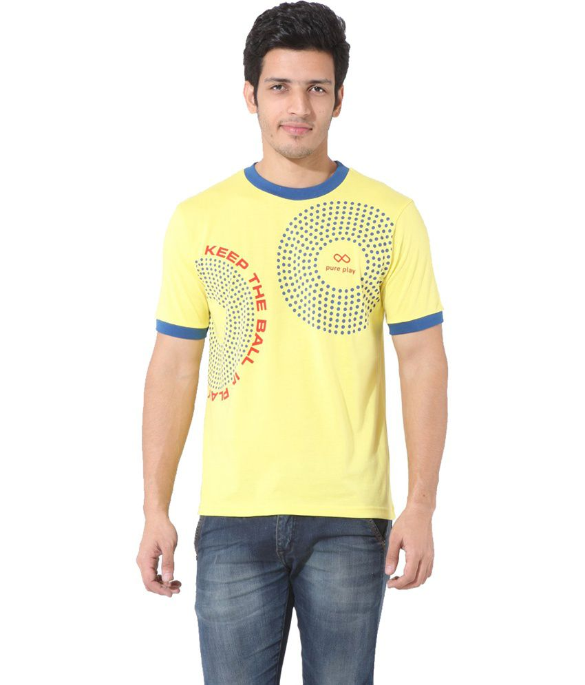 Pure Play Cotton Round Neck Half Sleeves Printed Yellow T-shirt