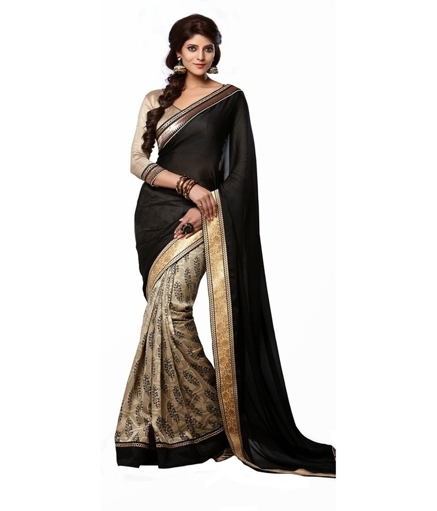 Ruddhi Black Satin Saree