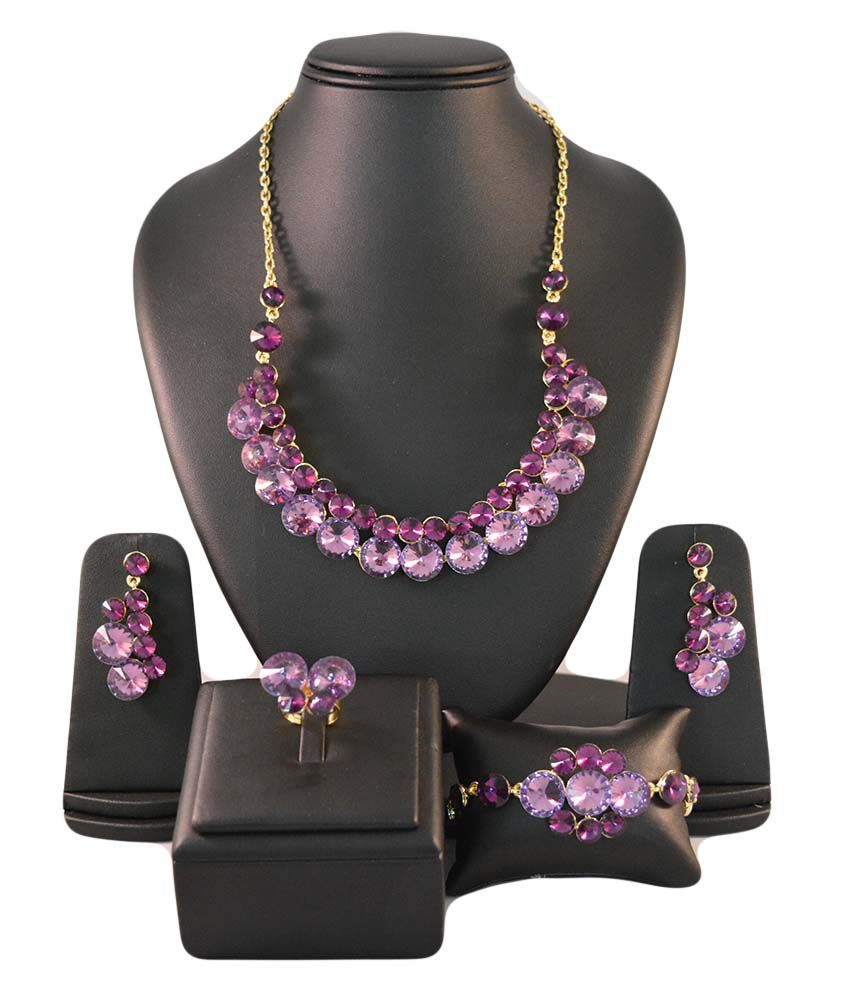 Ruhaani Jewels Purple Crystals Jewellery Set With Ring