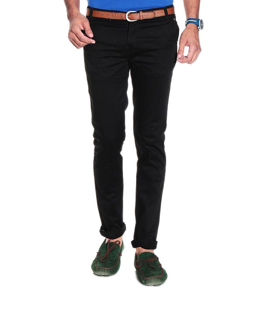 Custom Black Cotton Blend Slim Men's Jeans