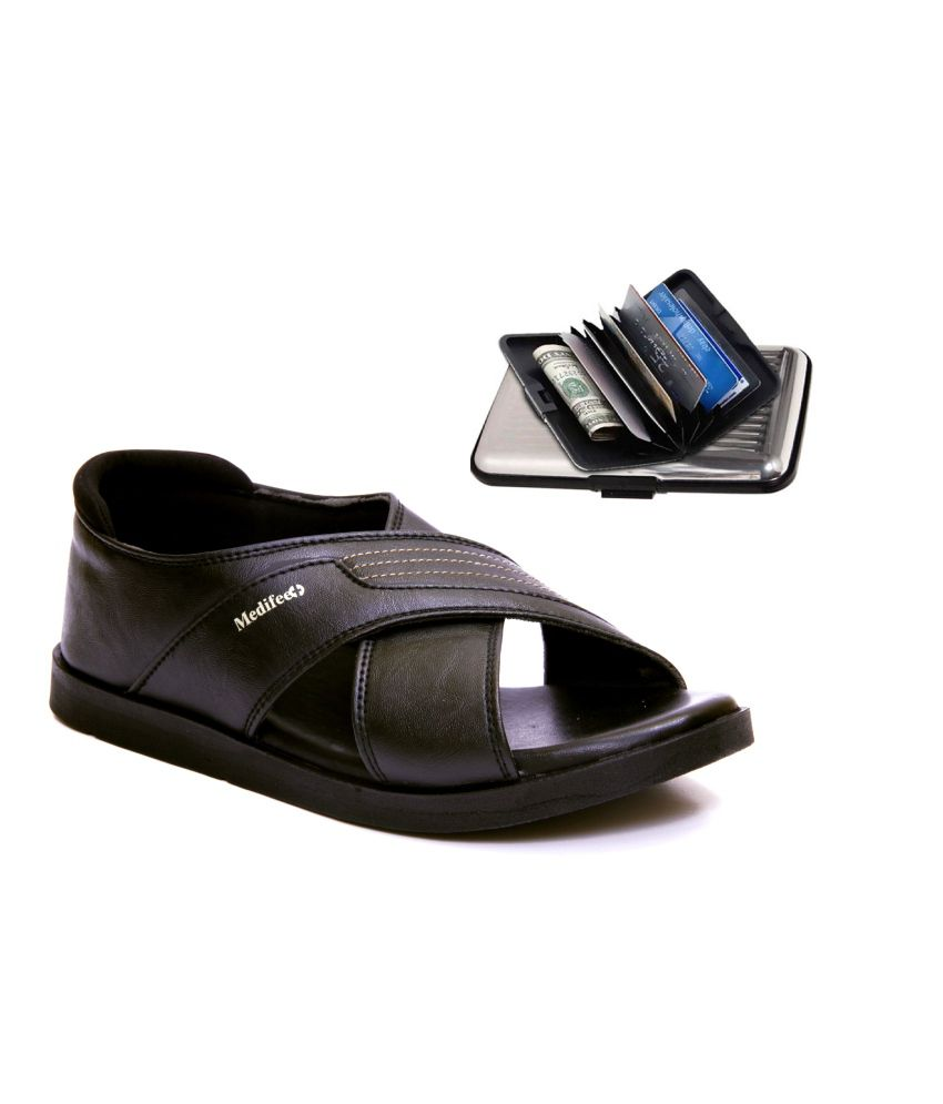 Medifeet Black Daily Use Sandals Price in India- Buy ...