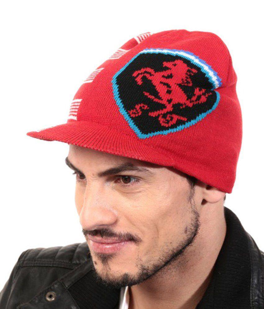 Zanky Red Woollen Winter Caps