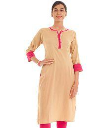 Naksh Jaipur Cotton Beige Straight Fit Kurta