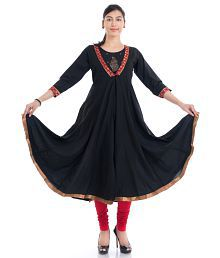 Naksh Jaipur Cotton Black Anarkali Kurta
