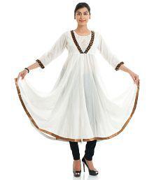 Naksh Jaipur Cotton White Anarkali Kurta